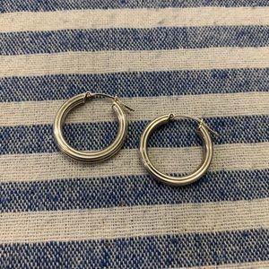 """Sterling Silver Hoop Earrings 3/4"""" EUC"""